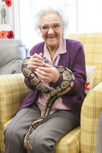 Club member Kathleen meets the python