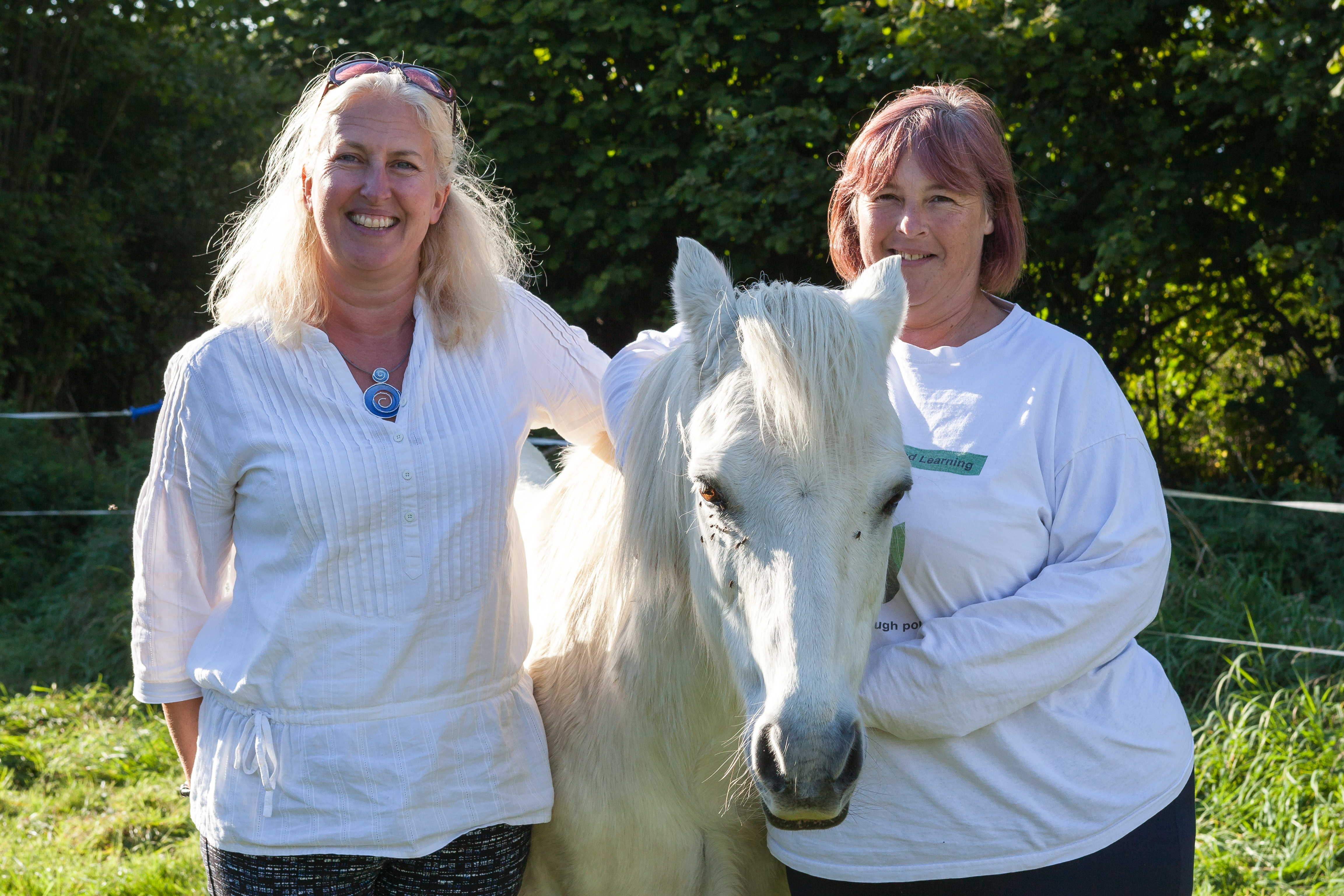 Sarah and Heather with George the pony
