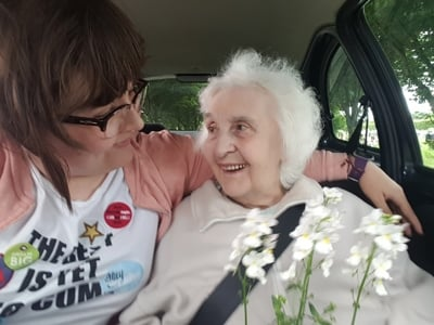 Becka with Margaret in the car