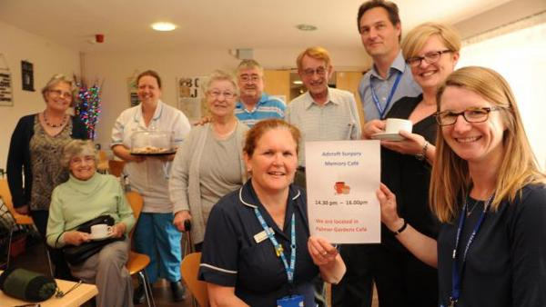 Claire Thomas, right, with practice nurse Gabby Wright and staff at the cafe launch. Picture courtesy Wiltshire Times
