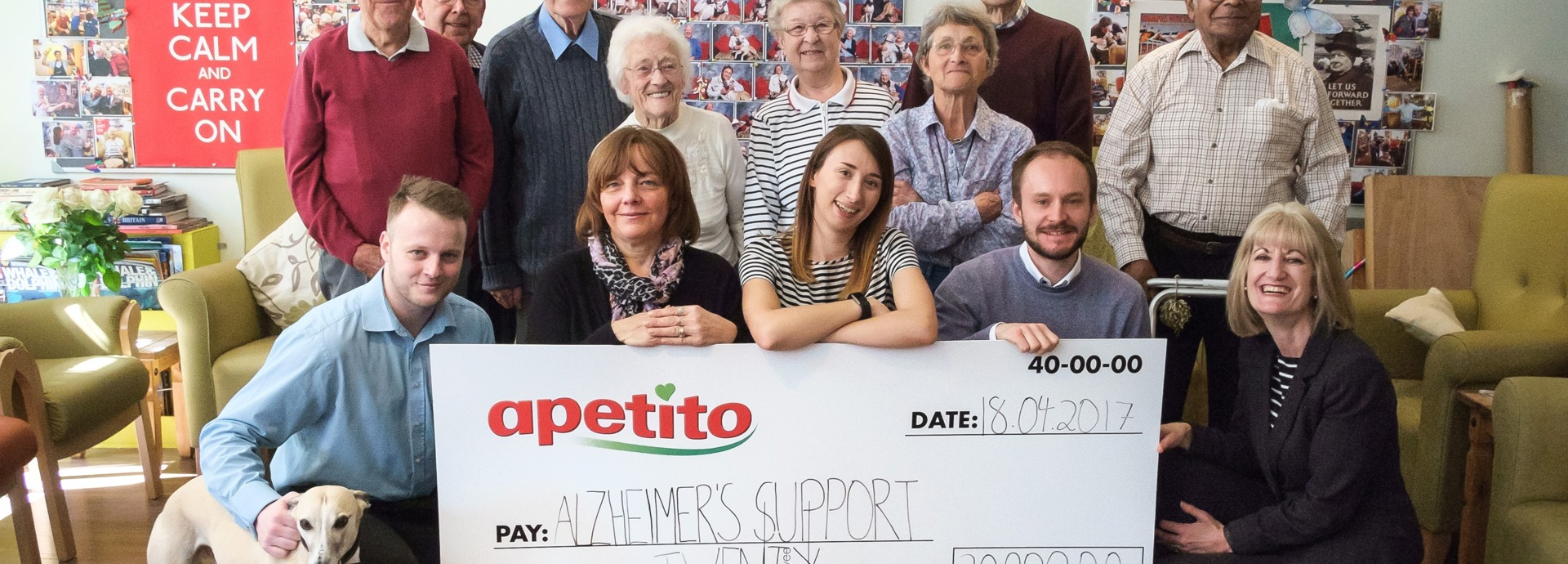 Apetito staff and club members with giant cheque