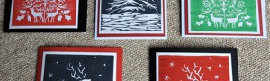 Sheila's handprinted cards - pack of 5