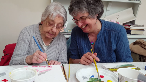 Sally painting with Mavis